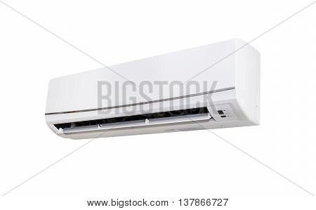 White Color Air Conditioner Machine Isolated On White Background With Copy Space