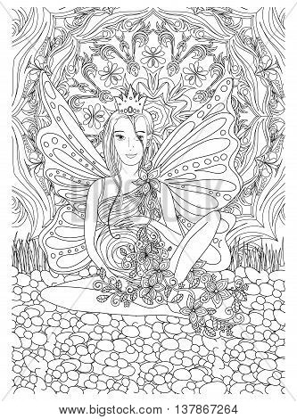Adult coloring book page with Pregnant lady.Pregnancy in doodle style art.Black and white