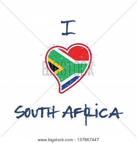South African Flag Patriotic T-shirt Design. Heart Shaped National Flag South Africa On White Backgr