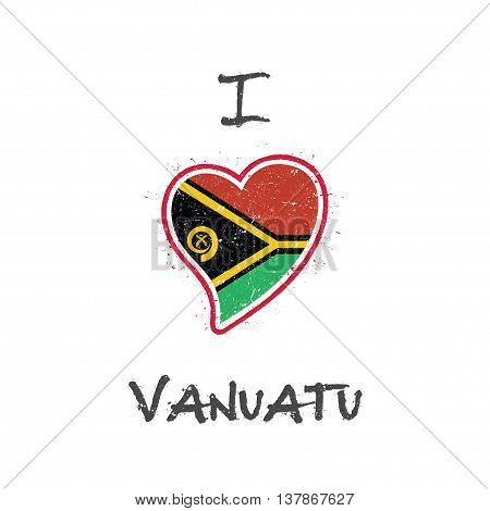 Ni-vanuatu Flag Patriotic T-shirt Design. Heart Shaped National Flag Vanuatu On White Background. Ve