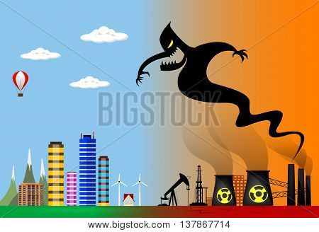 Conceptual vector illustration about polluted smoke monster from factory chimney over city. Ecological disaster, industrial problems, environmental disaster.