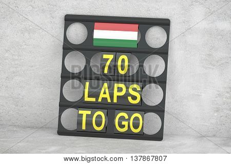 racing pit board with flag of Hungary 3D rendering