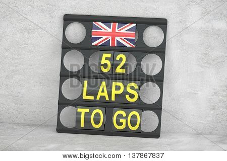 racing pit board with flag of UK 3D rendering