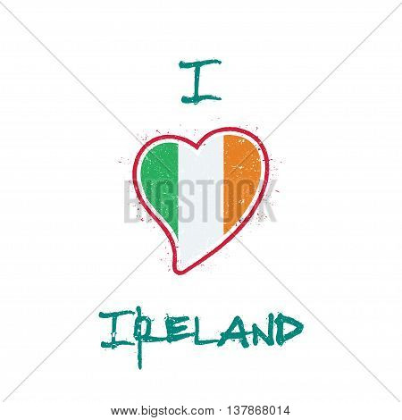 Irish Flag Patriotic T-shirt Design. Heart Shaped National Flag Ireland On White Background. Vector
