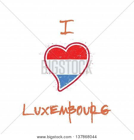 Luxembourger Flag Patriotic T-shirt Design. Heart Shaped National Flag Luxembourg On White Backgroun