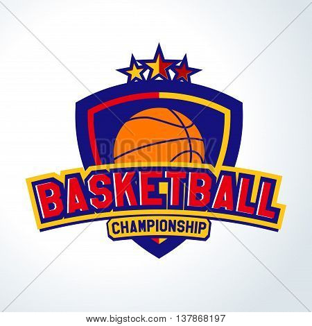 Basketball logo, Label. The championship team. For fitness University for the tournament. For embroidery, printing and oracal. Vector Templates of sport T-Shirts and 4 graphics style
