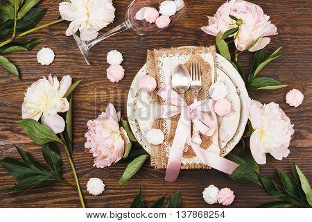 Tableware With Light Pink Peonies And Meringues