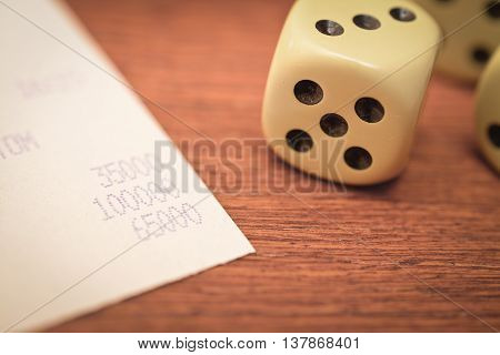 count for cash payment on the wooden table