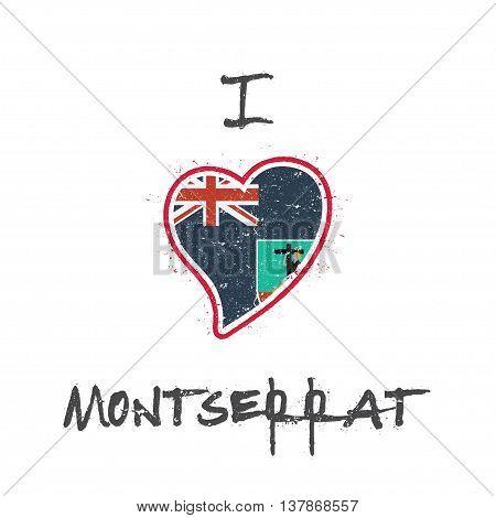 Montserratian Flag Patriotic T-shirt Design. Heart Shaped National Flag Montserrat On White Backgrou