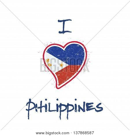 Filipino Flag Patriotic T-shirt Design. Heart Shaped National Flag Philippines On White Background.