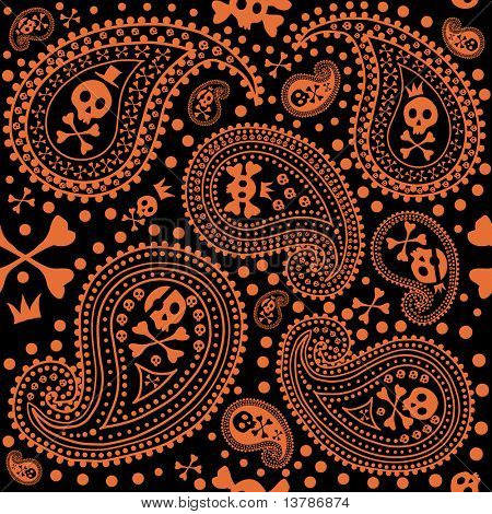 Vector illustration of pattern with a paisley and skulls