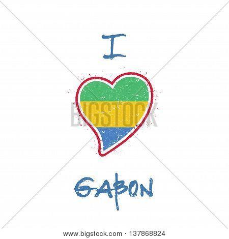 Gabonese Flag Patriotic T-shirt Design. Heart Shaped National Flag Gabon On White Background. Vector