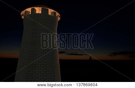 military watch signal tower on sunset sky 3d render
