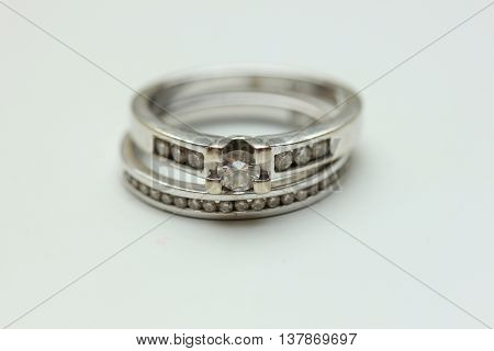Diamond channel set engagement ring and wedding band in white gold