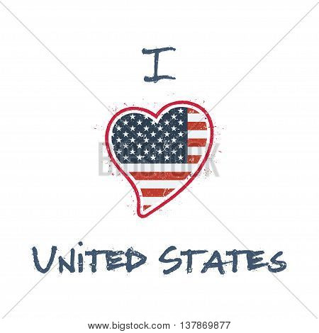 American Flag Patriotic T-shirt Design. Heart Shaped National Flag United States On White Background