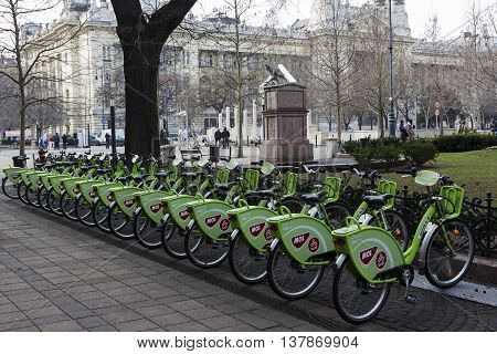BUDAPEST, CENTRAL HUNGARY/HUNGARY - FEBRUARY 1, 2015: Row of public bikes in Budapest Hungary