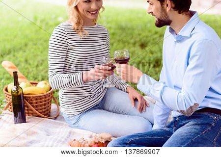 Cheers. Young loving couple is clinking glasses of wine. They are looking at each other with happiness and smiling. Lovers are sitting on blanket in nature