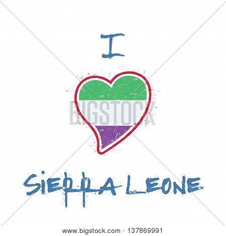Sierra Leonean Flag Patriotic T-shirt Design. Heart Shaped National Flag Sierra Leone On White Backg