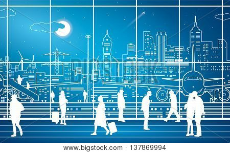 Airport terminal, airport panorama, people expect flight, night city on background, vector design art