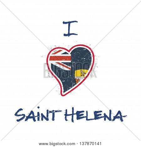 Saint Helenian Flag Patriotic T-shirt Design. Heart Shaped National Flag Saint Helena On White Backg