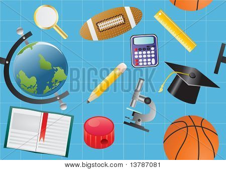 Vector illustration of seamless school background