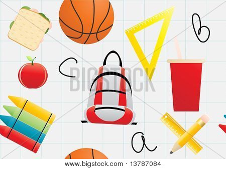 Vector illustration of wrapper with educational object