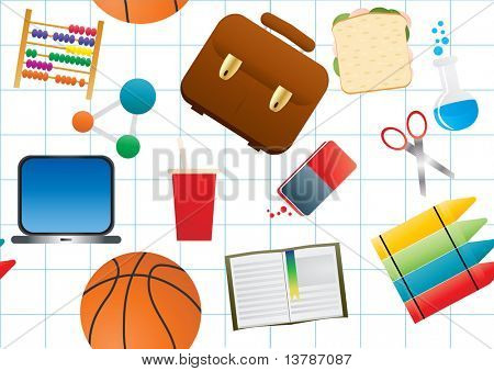 Vector illustration of education background on white paper