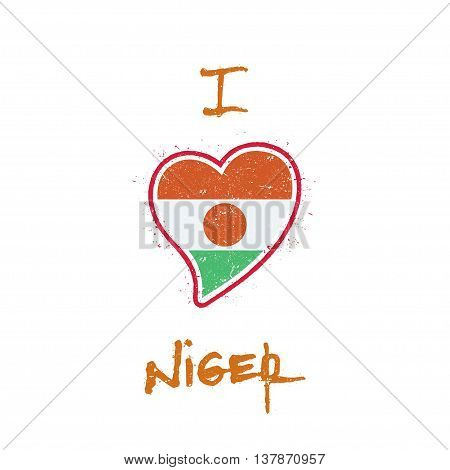 Nigerian Flag Patriotic T-shirt Design. Heart Shaped National Flag Niger On White Background. Vector