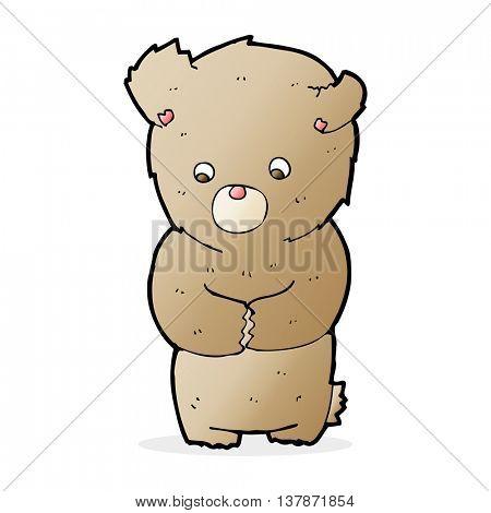cartoon shy teddy bear