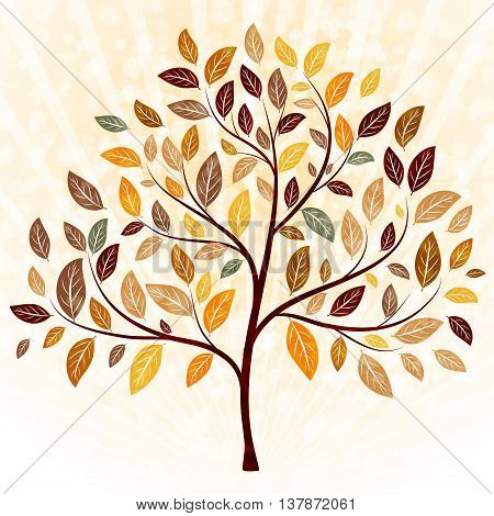 An autumn tree with leaves vector background