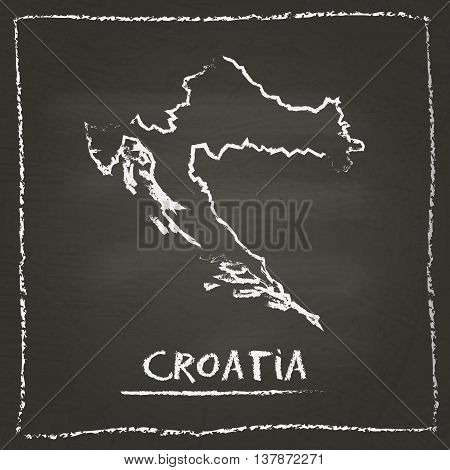 Croatia Outline Vector Map Hand Drawn With Chalk On A Blackboard. Chalkboard Scribble In Childish St