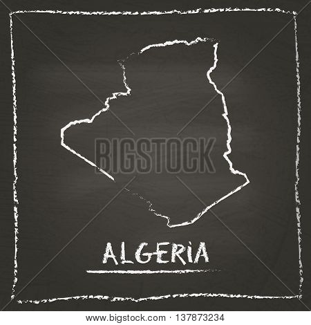 Algeria Outline Vector Map Hand Drawn With Chalk On A Blackboard. Chalkboard Scribble In Childish St