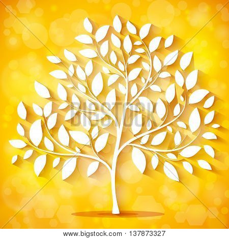 Autumn background with a tree silhouette vector