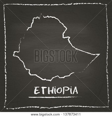 Ethiopia Outline Vector Map Hand Drawn With Chalk On A Blackboard. Chalkboard Scribble In Childish S