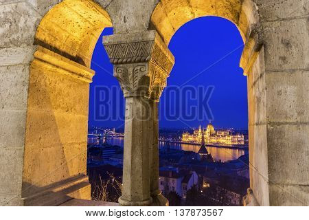 View on Hungarian Parliament Building in Budapest from Fisherman's Bastion