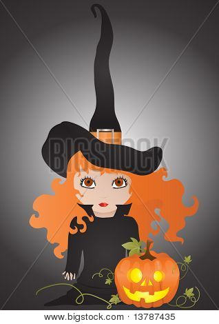 Vector illustration of witch with pumpkin on a black background