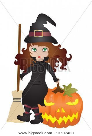 Vector illustration of little witch with pumpkin