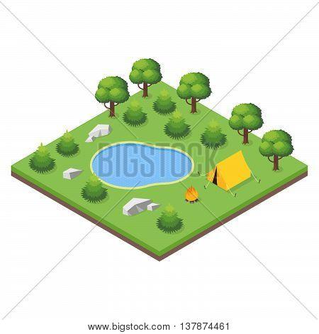 Isometric 3d illustration of forest camp. Forest landscape.