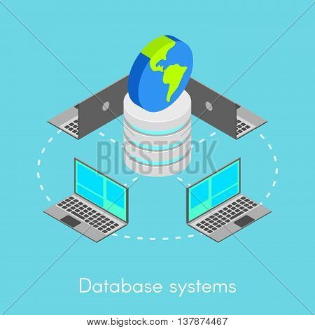 Vector isometric concept for online database systems. Notebooks connected to one network.