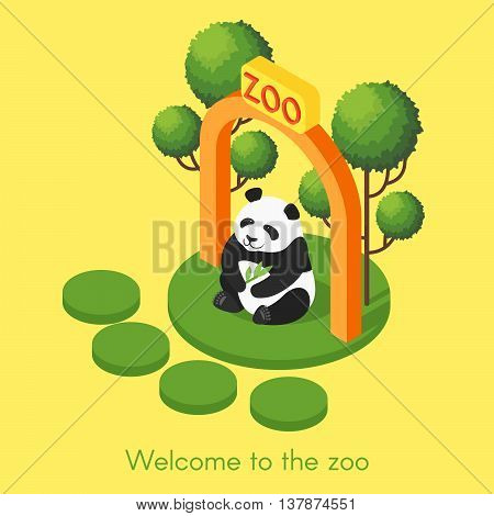 Vector isometric illustration of panda. Welcome to the zoo concept. Panda holding bamboo branch.