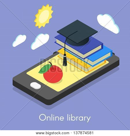 Vector isometric concept for online library education and self-development. Smartphone and books.