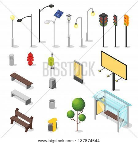 Vector set of isometric city objects. Various urban elements: bus stop bench traffic light.