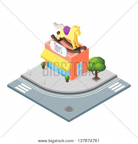 Isometric vector 3d illustration of toy shop. City landscape. Toy horse.