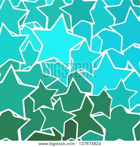 abstract vector stained-glass mosaic background - blue and teal stars