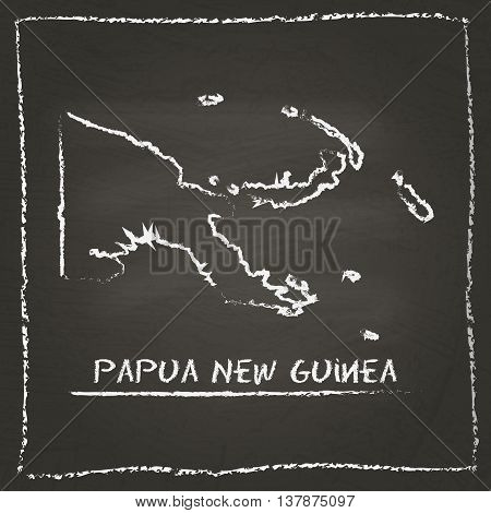 Papua New Guinea Outline Vector Map Hand Drawn With Chalk On A Blackboard. Chalkboard Scribble In Ch