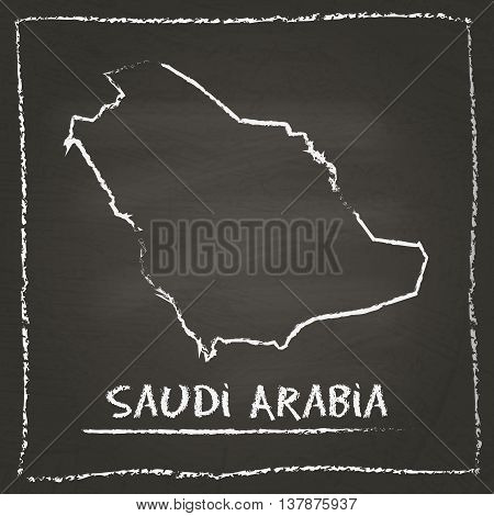 Saudi Arabia Outline Vector Map Hand Drawn With Chalk On A Blackboard. Chalkboard Scribble In Childi