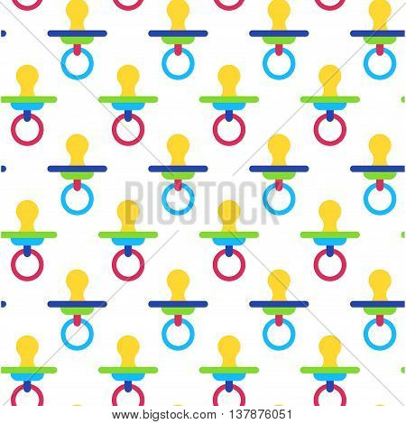 Nipple baby colorful seamless vector pattern on white background