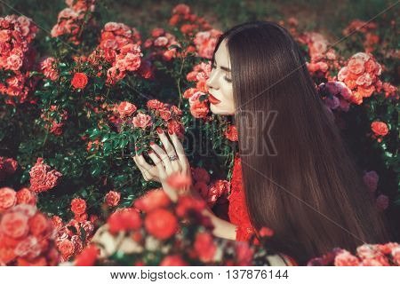 Woman with long hair among the rose bushes in the flower keeps hands.