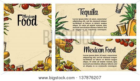 Mexican traditional food restaurant menu template with burrito tacos tomato nachos tequila lime. Vector vintage engraved illustration on beige background. For poster web