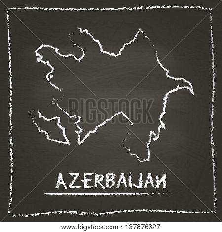 Azerbaijan Outline Vector Map Hand Drawn With Chalk On A Blackboard. Chalkboard Scribble In Childish